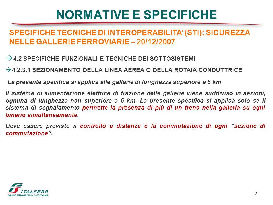 7 NORMATIVE E SPECIFICHE 4.2 SPECIFICHE FUNZIONALI E TECNICHE DEI SOTTOSISTEMI 4.2.3.1 SEZIONAMENTO DELLA LINEA AEREA O DELLA ROTAIA CONDUTTRICE La pr