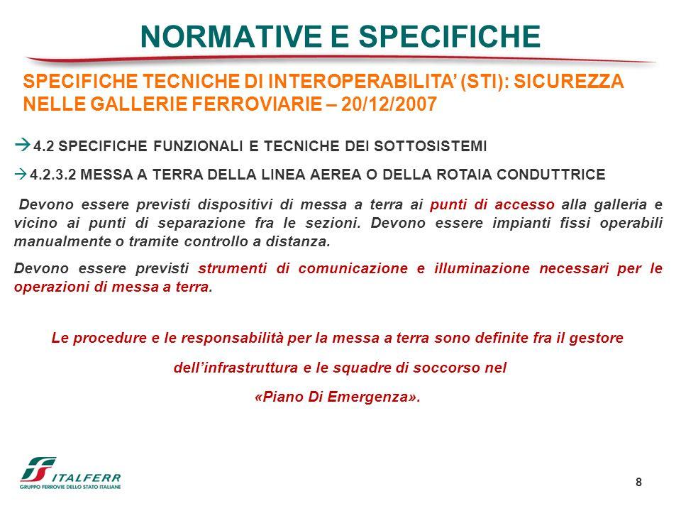 8 NORMATIVE E SPECIFICHE 4.2 SPECIFICHE FUNZIONALI E TECNICHE DEI SOTTOSISTEMI 4.2.3.2 MESSA A TERRA DELLA LINEA AEREA O DELLA ROTAIA CONDUTTRICE Devo