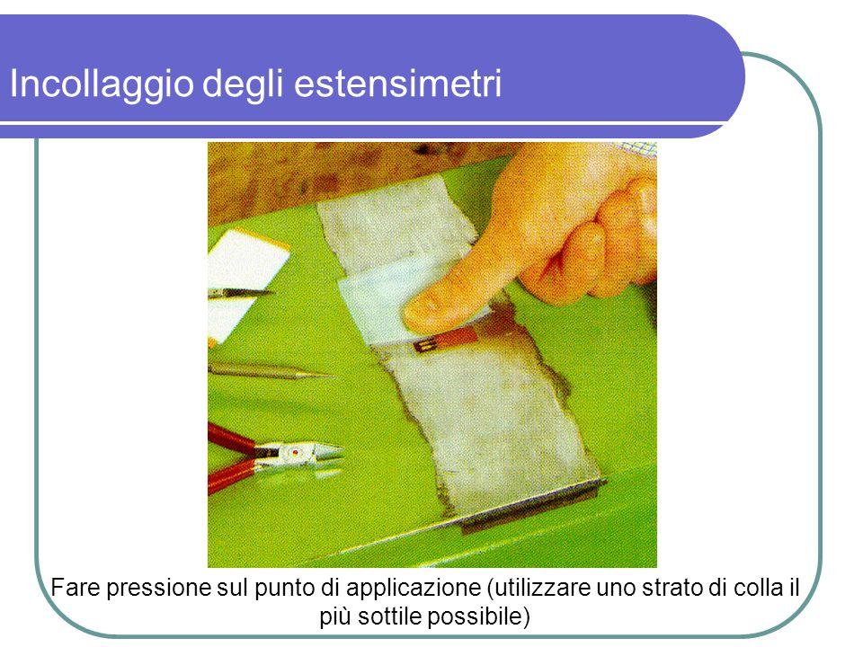 Fare pressione sul punto di applicazione (utilizzare uno strato di colla il più sottile possibile) Incollaggio degli estensimetri