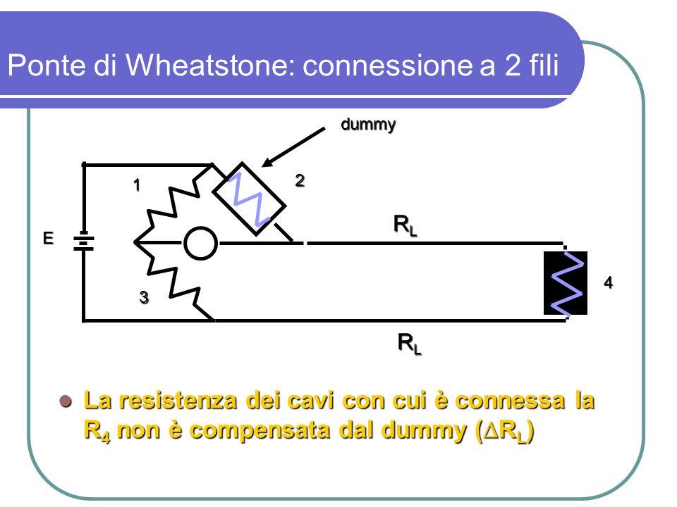 La resistenza dei cavi con cui è connessa la R 4 non è compensata dal dummy ( R L ) La resistenza dei cavi con cui è connessa la R 4 non è compensata