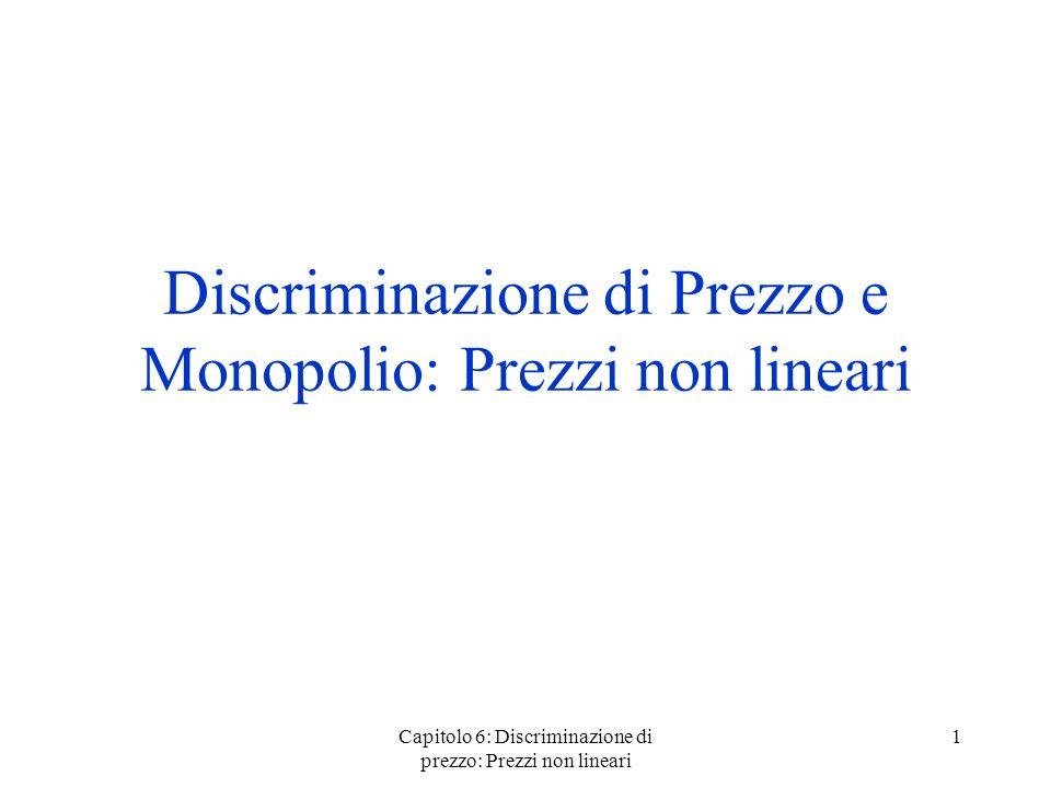 Capitolo 6: Discriminazione di prezzo: Prezzi non lineari 1 Discriminazione di Prezzo e Monopolio: Prezzi non lineari