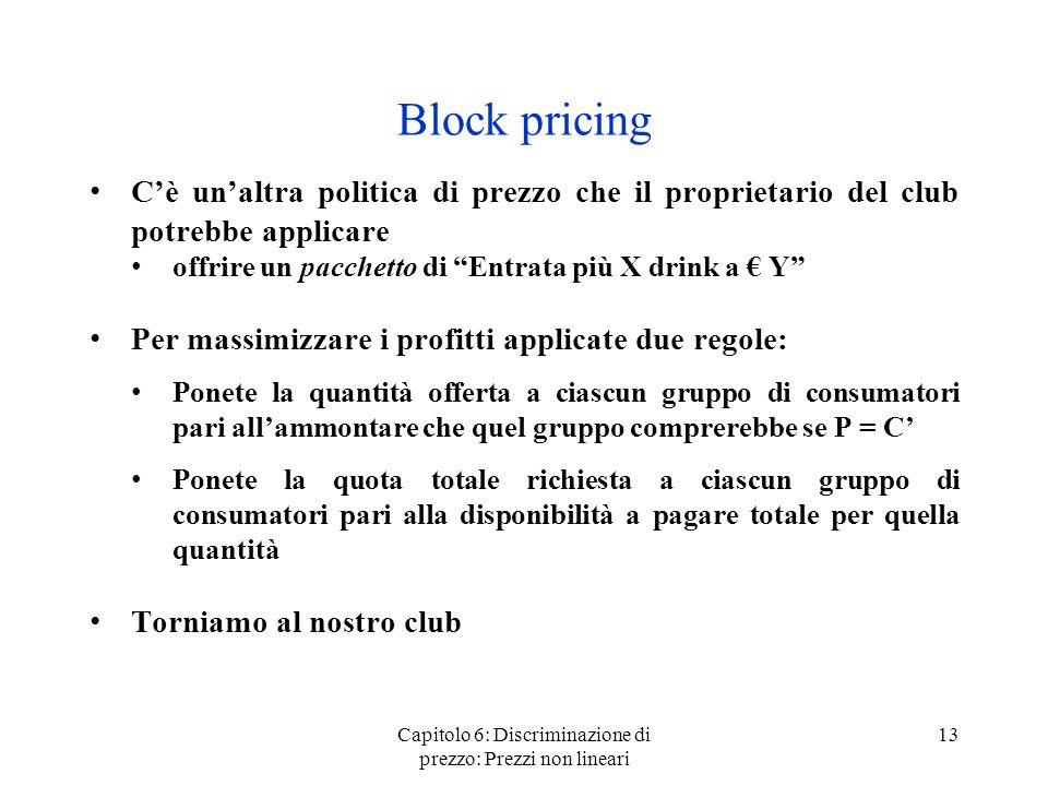 Capitolo 6: Discriminazione di prezzo: Prezzi non lineari 13 Block pricing Cè unaltra politica di prezzo che il proprietario del club potrebbe applica