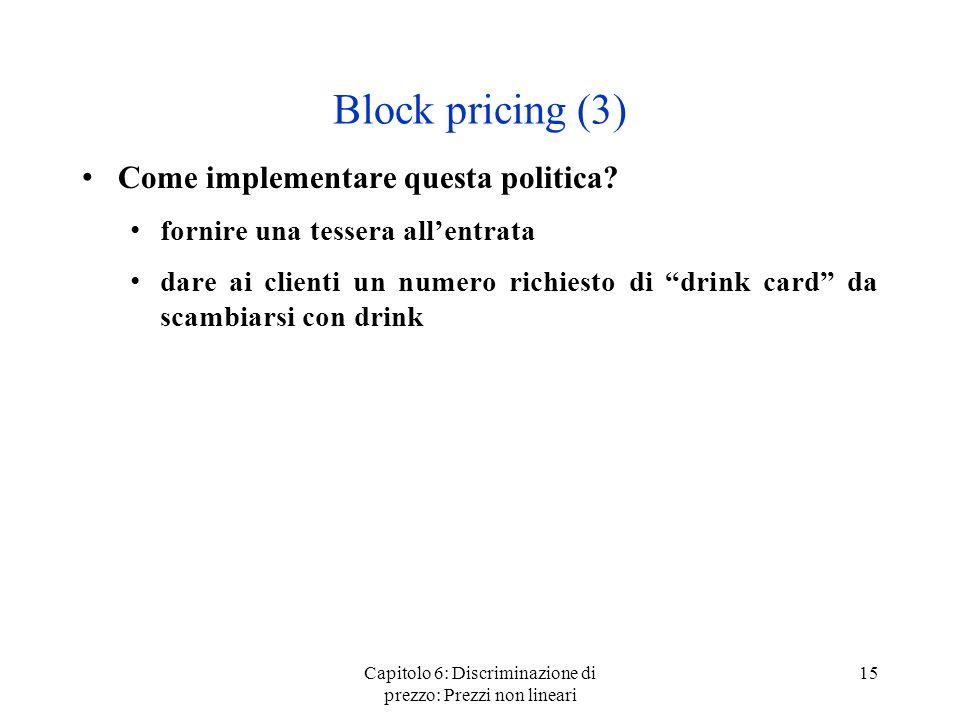 Capitolo 6: Discriminazione di prezzo: Prezzi non lineari 15 Block pricing (3) Come implementare questa politica? fornire una tessera allentrata dare