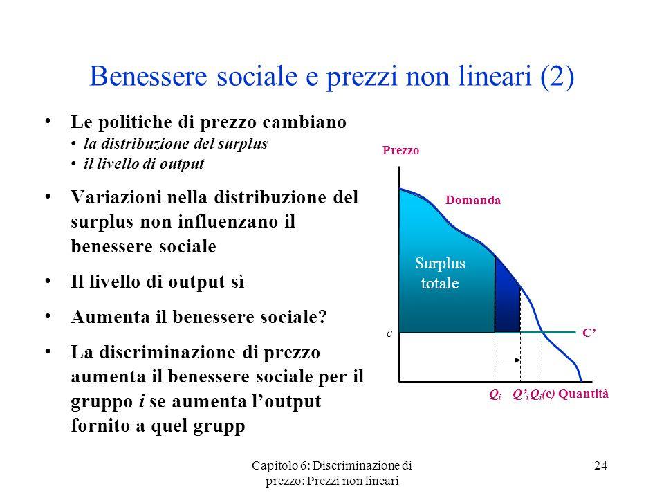 Capitolo 6: Discriminazione di prezzo: Prezzi non lineari 24 Benessere sociale e prezzi non lineari (2) Le politiche di prezzo cambiano la distribuzio