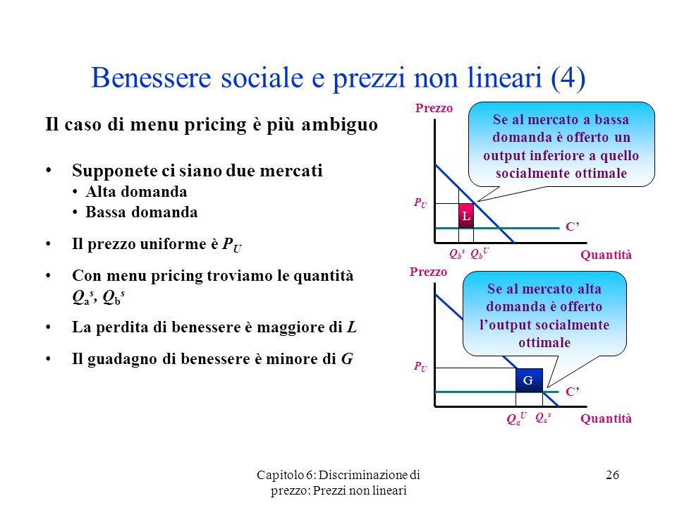 Capitolo 6: Discriminazione di prezzo: Prezzi non lineari 26 Benessere sociale e prezzi non lineari (4) Il caso di menu pricing è più ambiguo Supponet