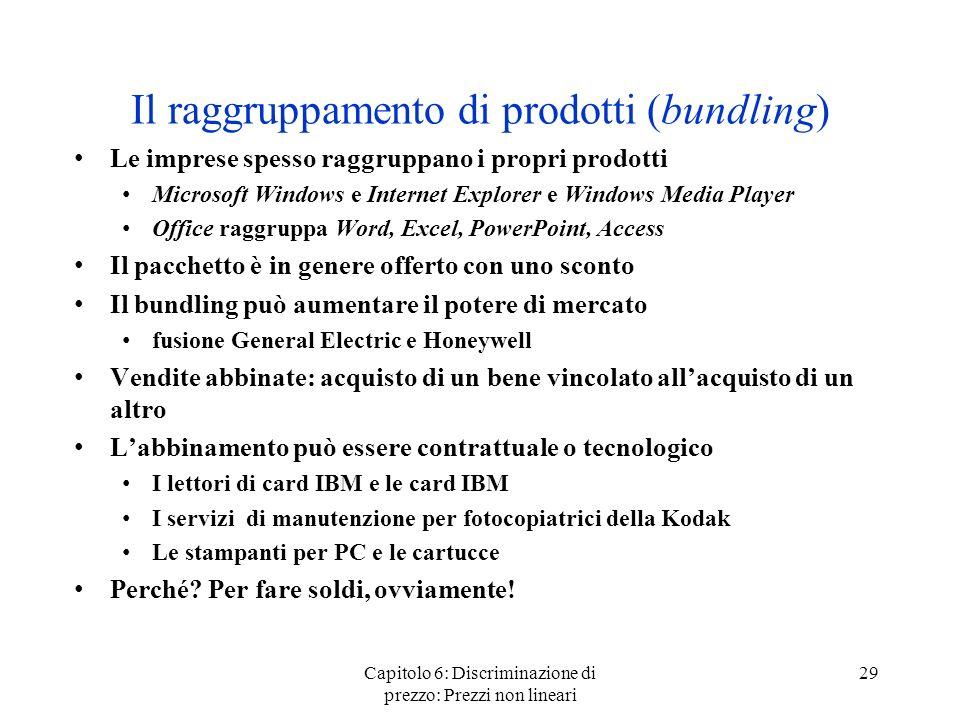Capitolo 6: Discriminazione di prezzo: Prezzi non lineari 29 Il raggruppamento di prodotti (bundling) Le imprese spesso raggruppano i propri prodotti