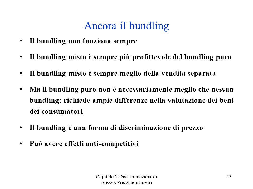 Capitolo 6: Discriminazione di prezzo: Prezzi non lineari 43 Ancora il bundling Il bundling non funziona sempre Il bundling misto è sempre più profitt