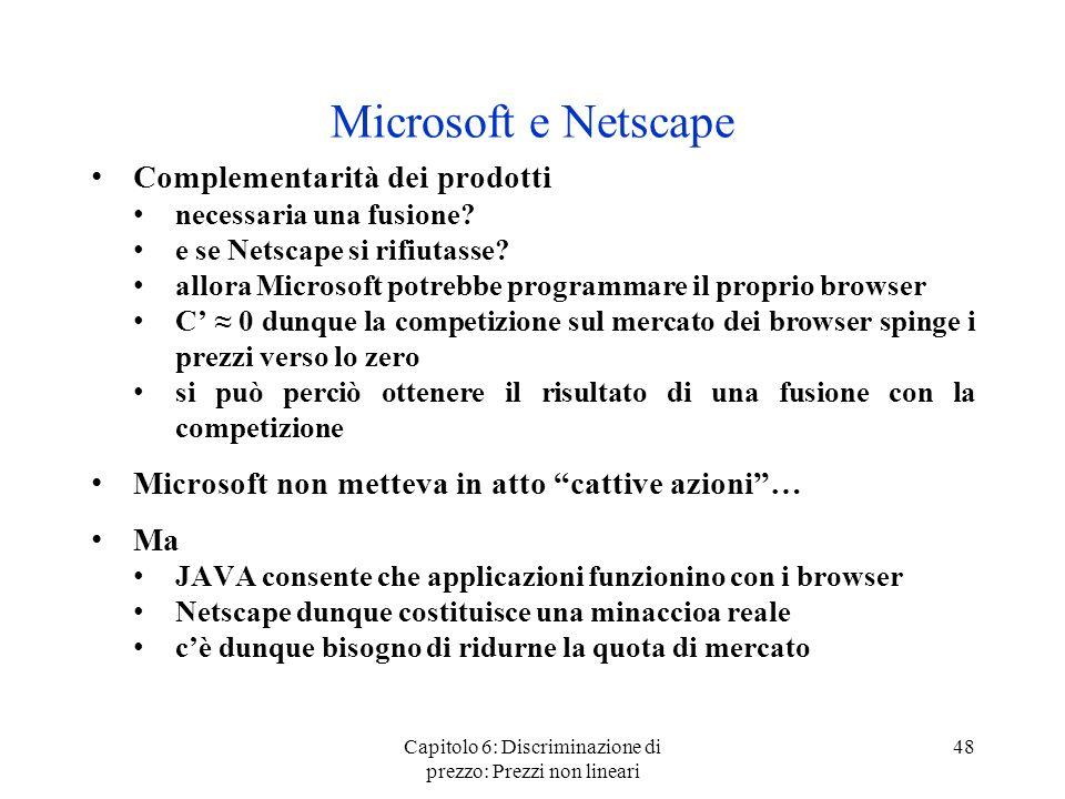 Capitolo 6: Discriminazione di prezzo: Prezzi non lineari 48 Microsoft e Netscape Complementarità dei prodotti necessaria una fusione? e se Netscape s