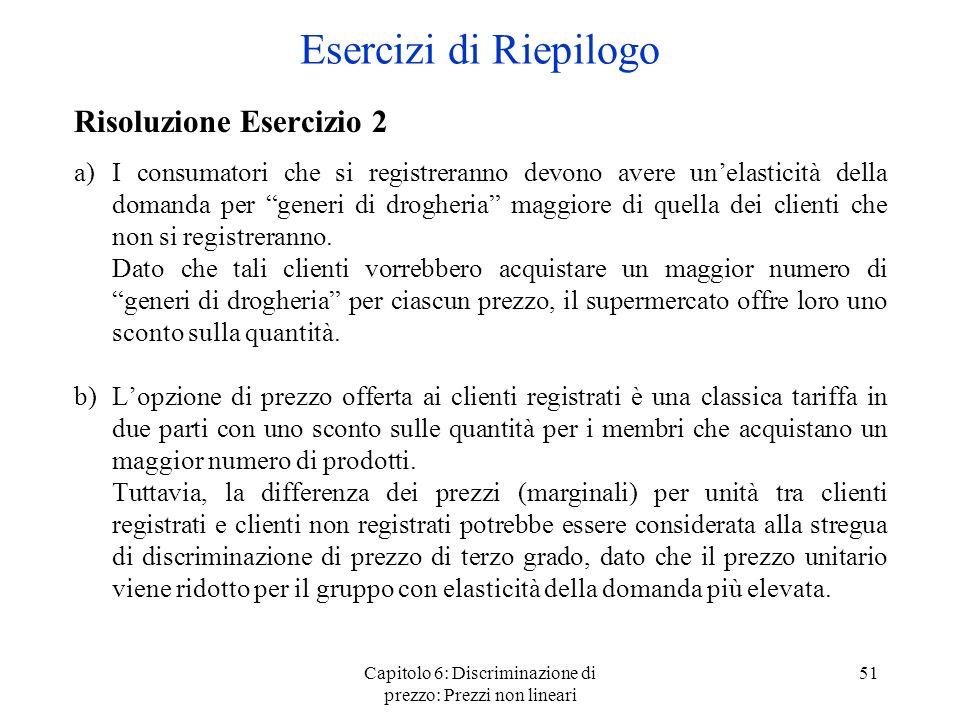 Capitolo 6: Discriminazione di prezzo: Prezzi non lineari 51 Risoluzione Esercizio 2 a)I consumatori che si registreranno devono avere unelasticità de