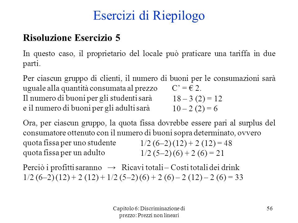 Capitolo 6: Discriminazione di prezzo: Prezzi non lineari 56 Esercizi di Riepilogo Risoluzione Esercizio 5 In questo caso, il proprietario del locale