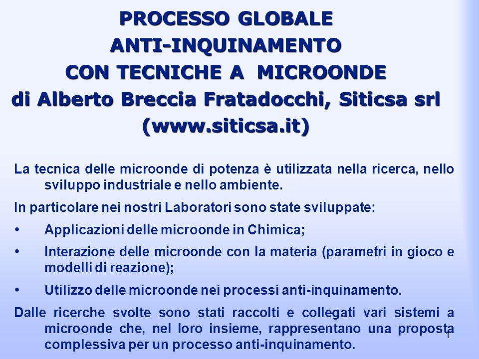 1 PROCESSO GLOBALE ANTI-INQUINAMENTO CON TECNICHE A MICROONDE di Alberto Breccia Fratadocchi, Siticsa srl (www.siticsa.it) La tecnica delle microonde