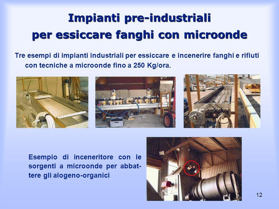 12 Impianti pre-industriali per essiccare fanghi con microonde Tre esempi di impianti industriali per essiccare e incenerire fanghi e rifiuti con tecn