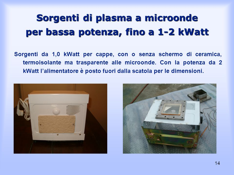 14 Sorgenti di plasma a microonde per bassa potenza, fino a 1-2 kWatt Sorgenti da 1,0 kWatt per cappe, con o senza schermo di ceramica, termoisolante