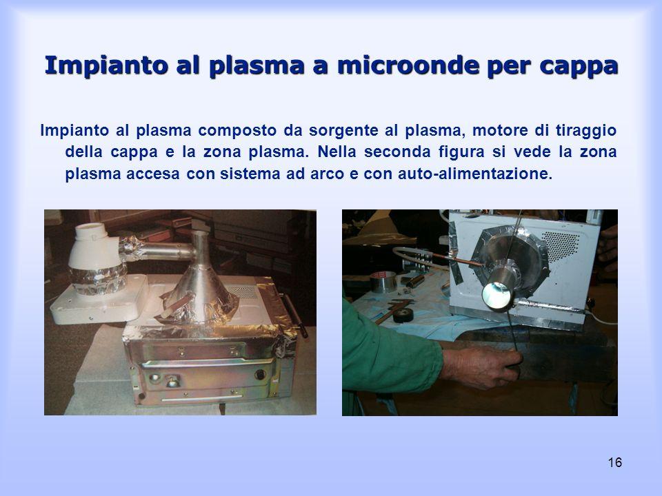 16 Impianto al plasma a microonde per cappa Impianto al plasma composto da sorgente al plasma, motore di tiraggio della cappa e la zona plasma. Nella