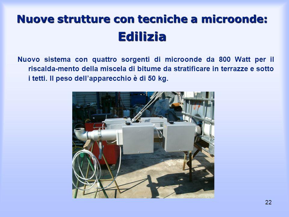 22 Nuove strutture con tecniche a microonde: Edilizia Nuovo sistema con quattro sorgenti di microonde da 800 Watt per il riscalda-mento della miscela