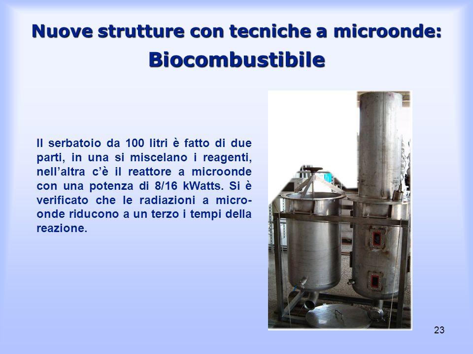 23 Nuove strutture con tecniche a microonde: Biocombustibile Il serbatoio da 100 litri è fatto di due parti, in una si miscelano i reagenti, nellaltra