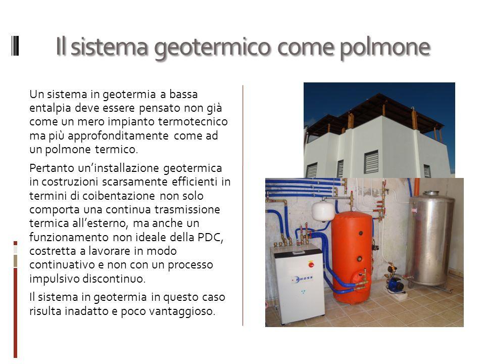 Il sistema geotermico come polmone Un sistema in geotermia a bassa entalpia deve essere pensato non già come un mero impianto termotecnico ma più approfonditamente come ad un polmone termico.