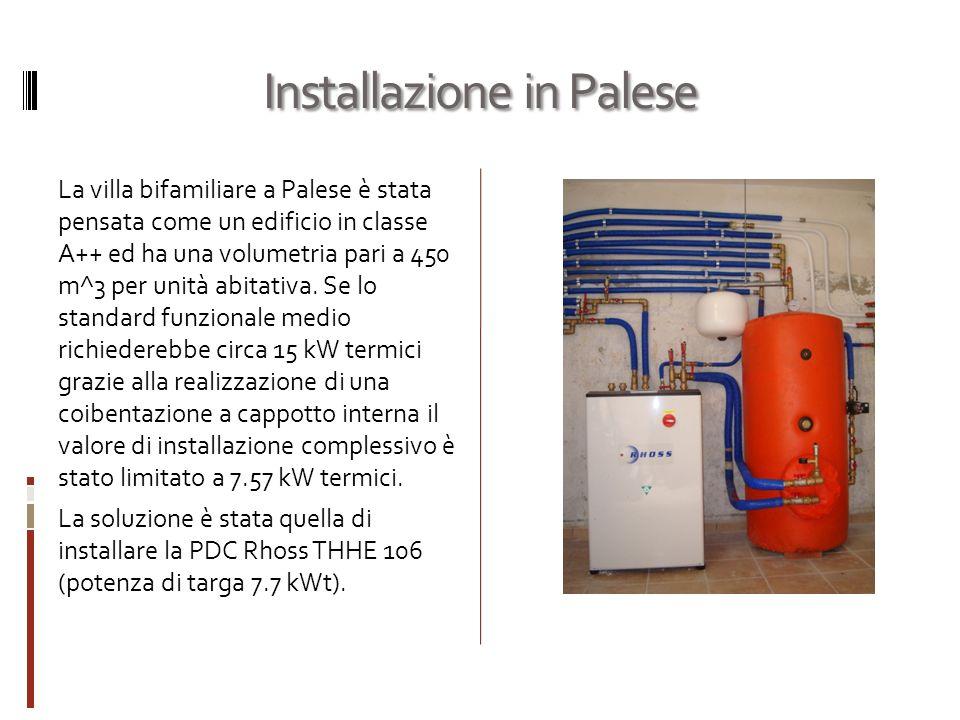 Installazione in Palese La villa bifamiliare a Palese è stata pensata come un edificio in classe A++ ed ha una volumetria pari a 450 m^3 per unità abitativa.