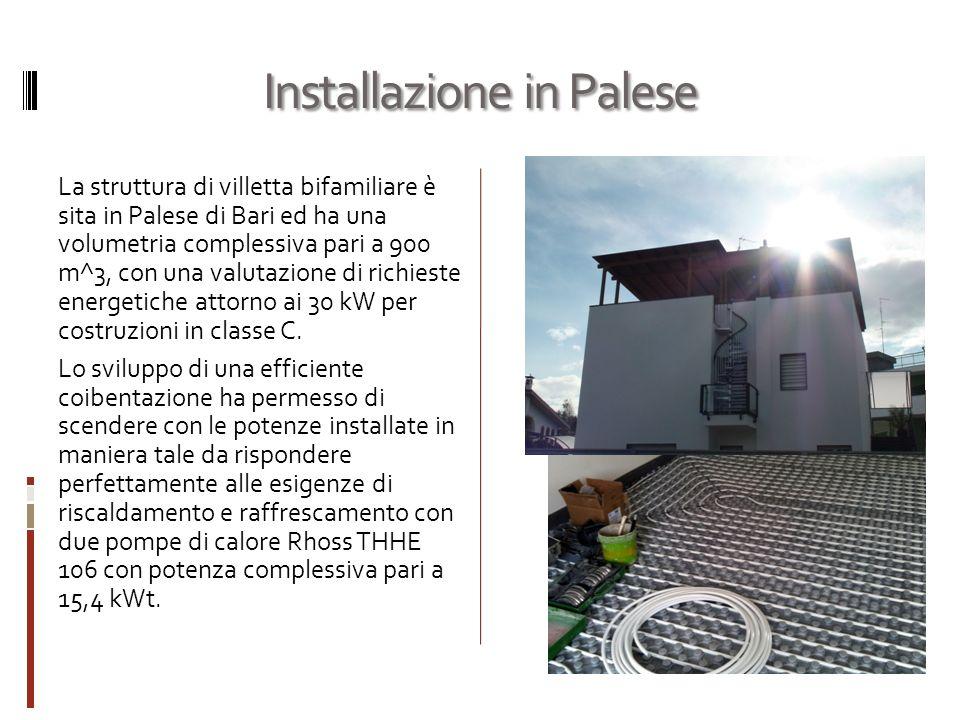 Installazione in Palese La struttura di villetta bifamiliare è sita in Palese di Bari ed ha una volumetria complessiva pari a 900 m^3, con una valutazione di richieste energetiche attorno ai 30 kW per costruzioni in classe C.