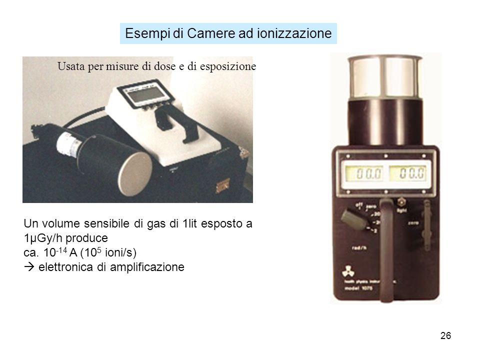 26 Esempi di Camere ad ionizzazione Usata per misure di dose e di esposizione Un volume sensibile di gas di 1lit esposto a 1μGy/h produce ca. 10 -14 A