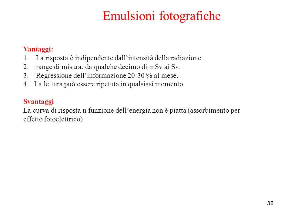 36 Emulsioni fotografiche Vantaggi: 1. La risposta è indipendente dallintensità della radiazione 2. range di misura: da qualche decimo di mSv ai Sv. 3