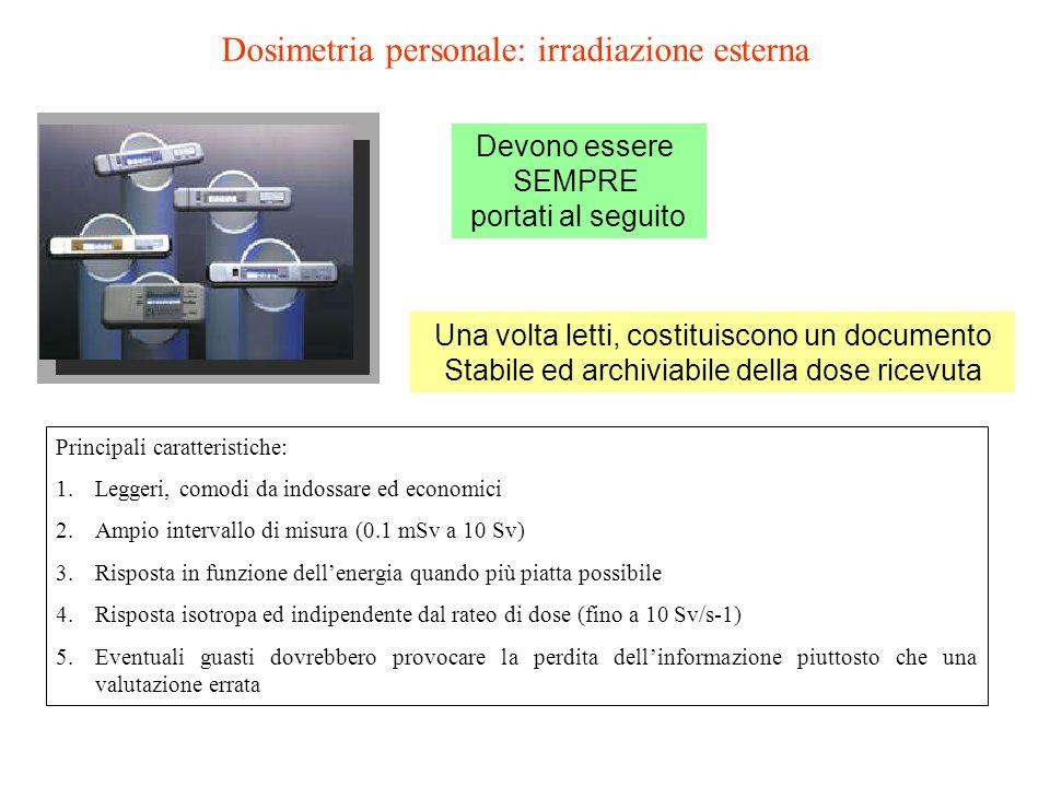 Dosimetria personale: irradiazione esterna Principali caratteristiche: 1.Leggeri, comodi da indossare ed economici 2.Ampio intervallo di misura (0.1 m