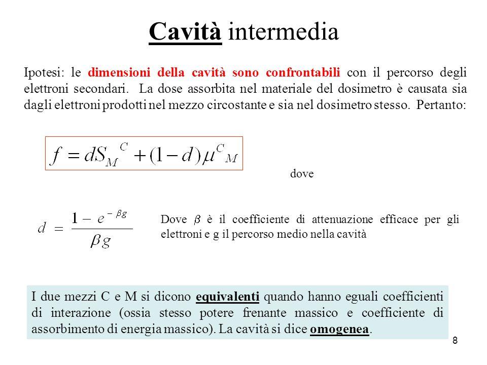 8 Ipotesi: le dimensioni della cavità sono confrontabili con il percorso degli elettroni secondari. La dose assorbita nel materiale del dosimetro è ca
