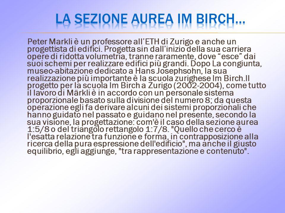 Peter Markli è un professore allETH di Zurigo e anche un progettista di edifici.