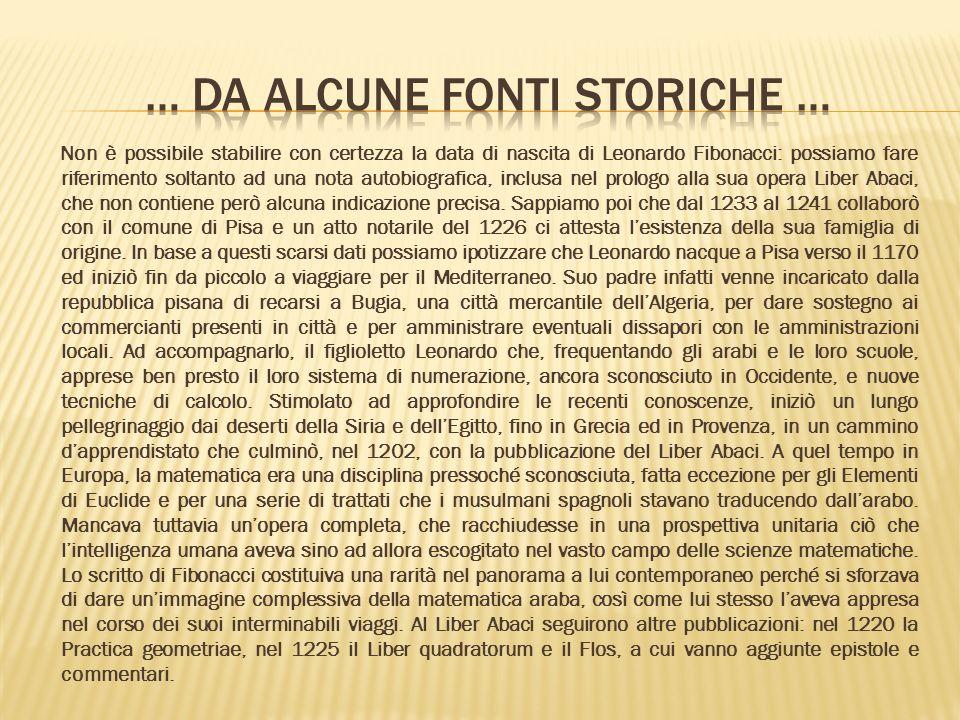 Non è possibile stabilire con certezza la data di nascita di Leonardo Fibonacci: possiamo fare riferimento soltanto ad una nota autobiografica, inclusa nel prologo alla sua opera Liber Abaci, che non contiene però alcuna indicazione precisa.