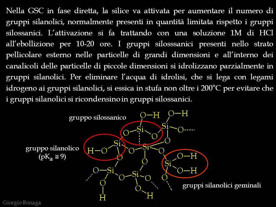 gruppo silossanico gruppo silanolico (pK a 9) gruppi silanolici geminali Nella GSC in fase diretta, la silice va attivata per aumentare il numero di g