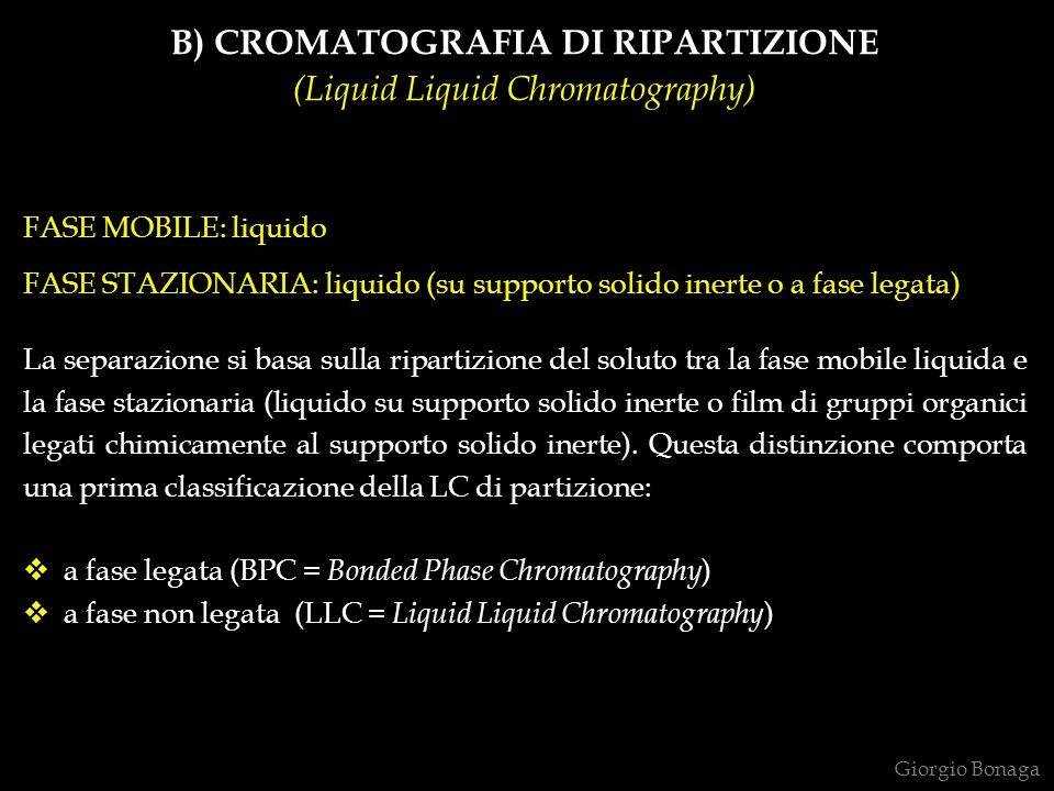 B) CROMATOGRAFIA DI RIPARTIZIONE (Liquid Liquid Chromatography) FASE MOBILE: liquido FASE STAZIONARIA: liquido (su supporto solido inerte o a fase leg
