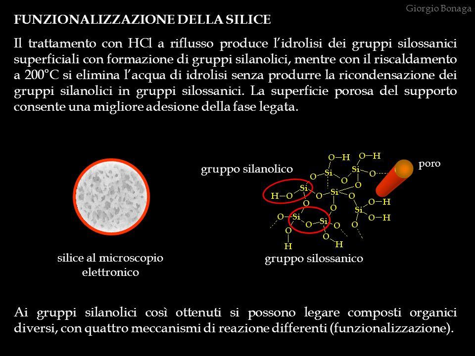 FUNZIONALIZZAZIONE DELLA SILICE Il trattamento con HCl a riflusso produce lidrolisi dei gruppi silossanici superficiali con formazione di gruppi silan