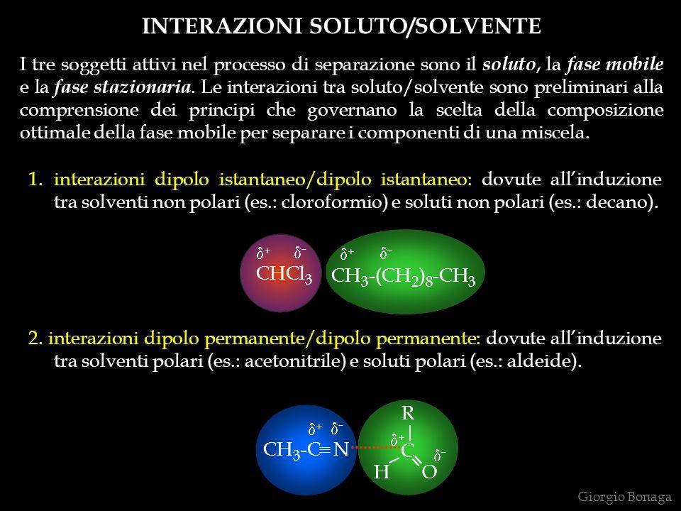INTERAZIONI SOLUTO/SOLVENTE I tre soggetti attivi nel processo di separazione sono il soluto, la fase mobile e la fase stazionaria. Le interazioni tra
