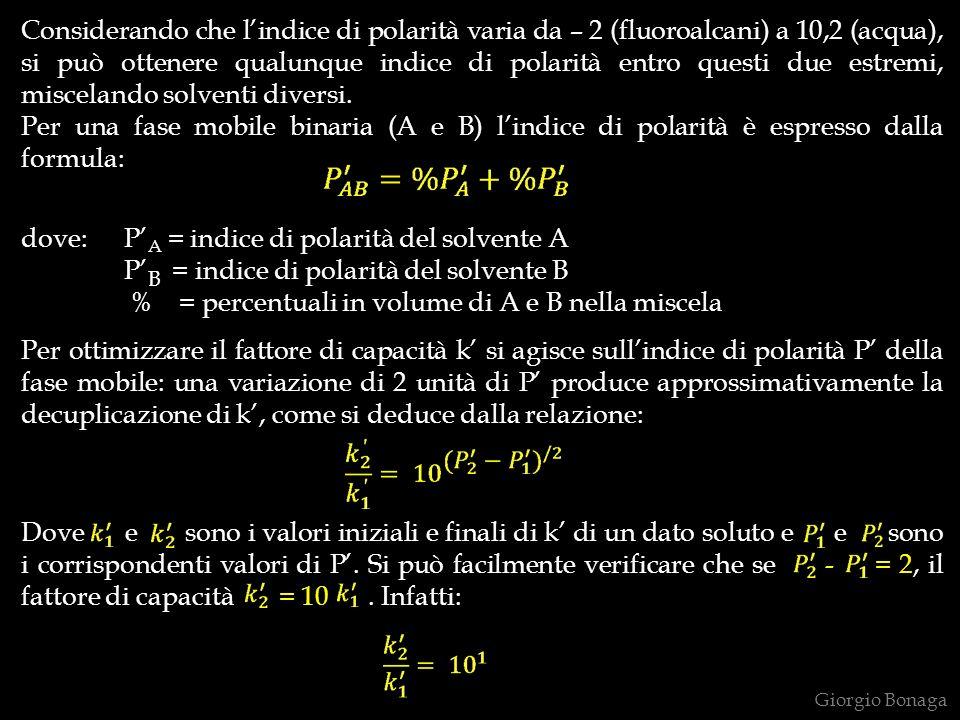 Considerando che lindice di polarità varia da – 2 (fluoroalcani) a 10,2 (acqua), si può ottenere qualunque indice di polarità entro questi due estremi