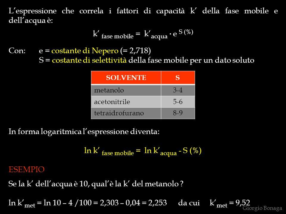 Lespressione che correla i fattori di capacità k della fase mobile e dellacqua è: k fase mobile = k acqua. e S (%) Con: e = costante di Nepero (= 2,71