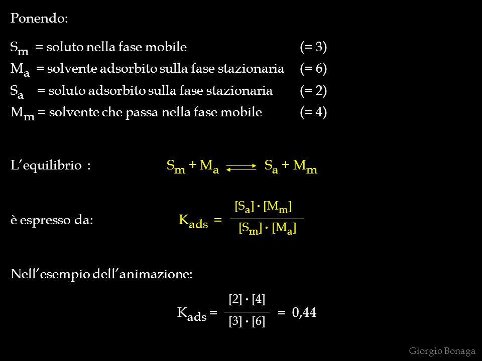 Ponendo: S m = soluto nella fase mobile(= 3) M a = solvente adsorbito sulla fase stazionaria(= 6) S a = soluto adsorbito sulla fase stazionaria(= 2) M