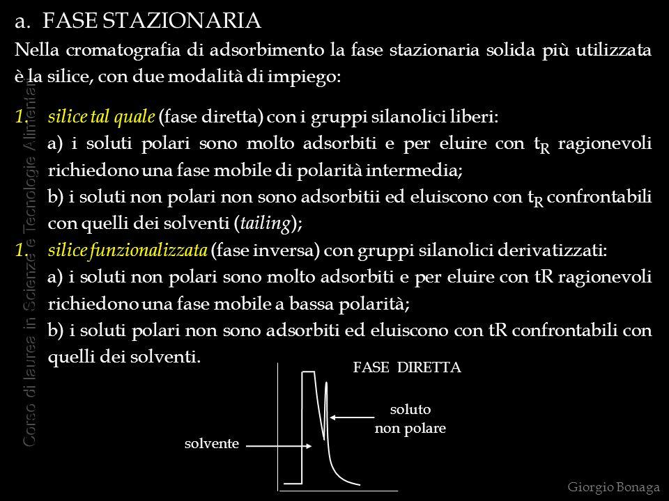 a. FASE STAZIONARIA Nella cromatografia di adsorbimento la fase stazionaria solida più utilizzata è la silice, con due modalità di impiego: 1.silice t