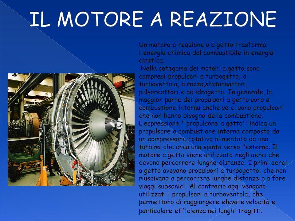 Un motore a reazione o a getto trasforma l'energia chimica del combustibile in energia cinetica. Nella categoria dei motori a getto sono compresi prop