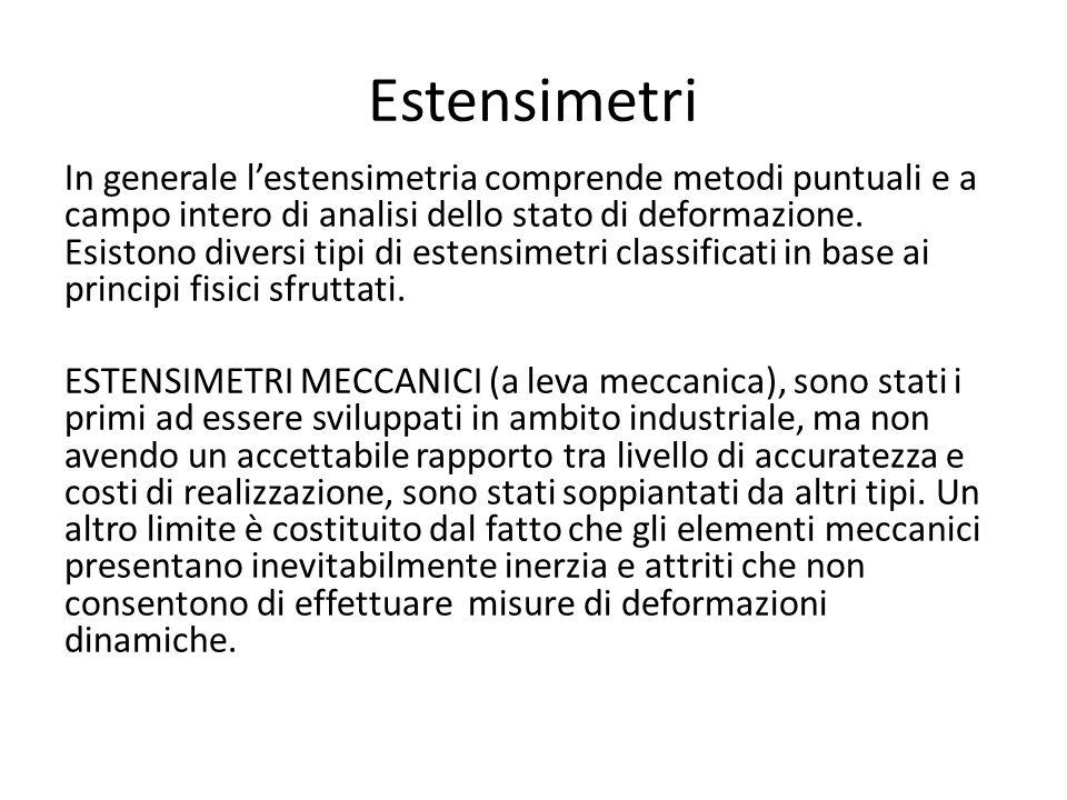 Estensimetri ottici(a leva ottica, fotoelastici, interferometrici): garantiscono elevate accuratezze, ma a causa dell elevato costo sono generalmente impiegati solo in laboratori metrologici.