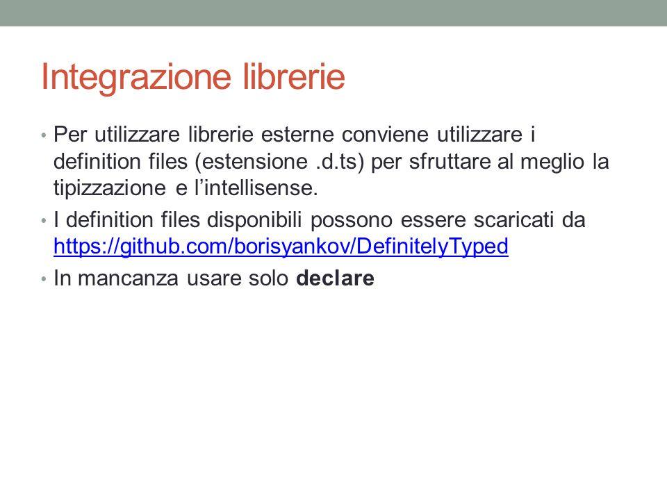 Integrazione librerie Per utilizzare librerie esterne conviene utilizzare i definition files (estensione.d.ts) per sfruttare al meglio la tipizzazione