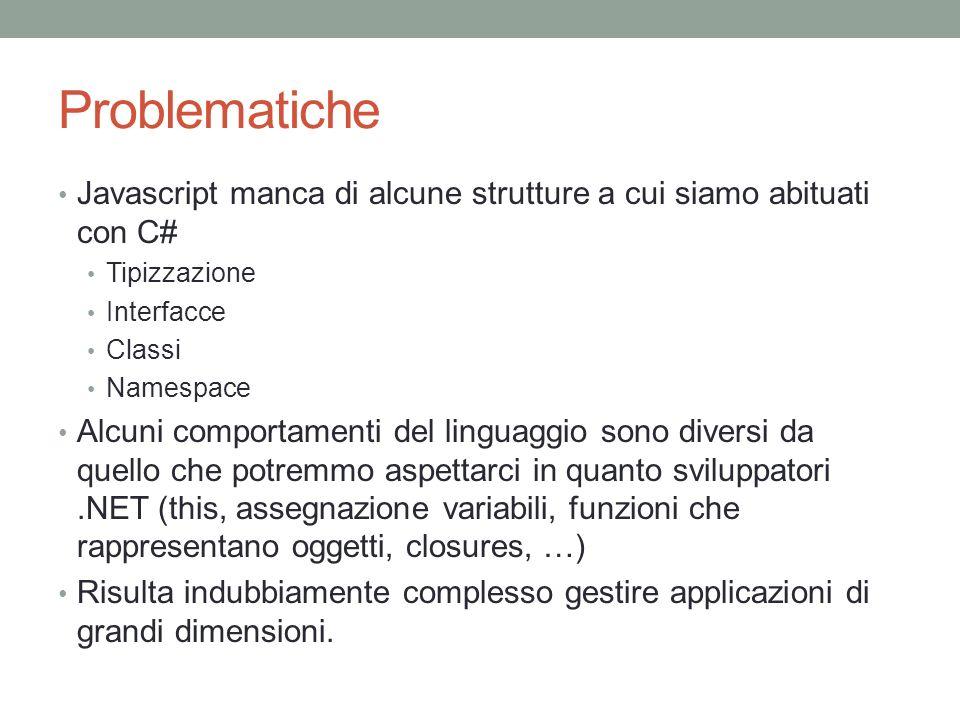 Problematiche Javascript manca di alcune strutture a cui siamo abituati con C# Tipizzazione Interfacce Classi Namespace Alcuni comportamenti del lingu