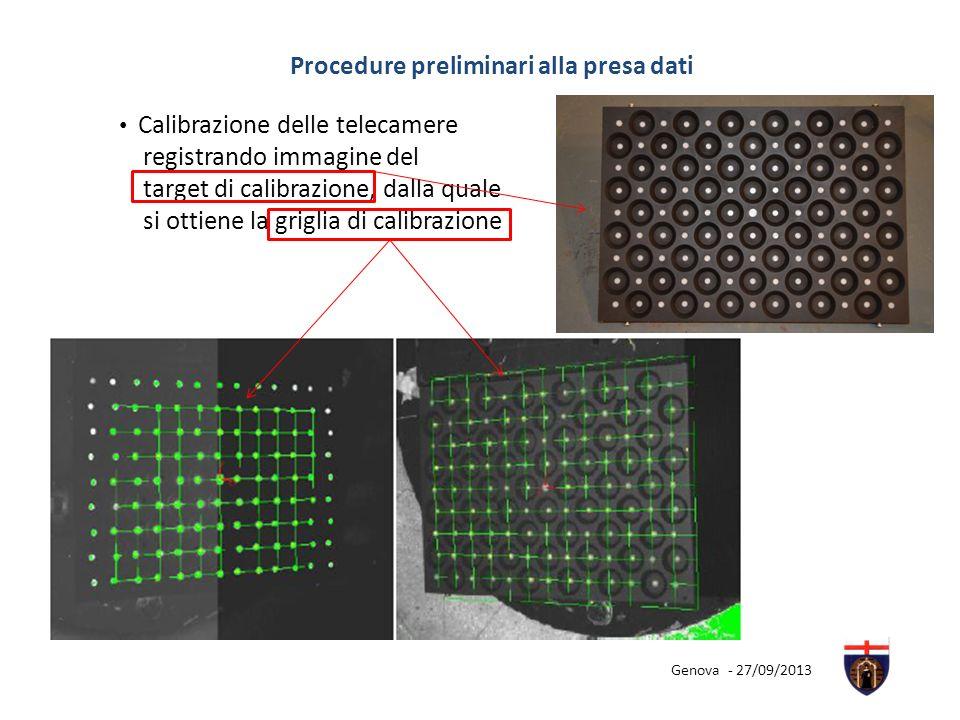 Procedure preliminari alla presa dati Calibrazione delle telecamere registrando immagine del target di calibrazione, dalla quale si ottiene la griglia