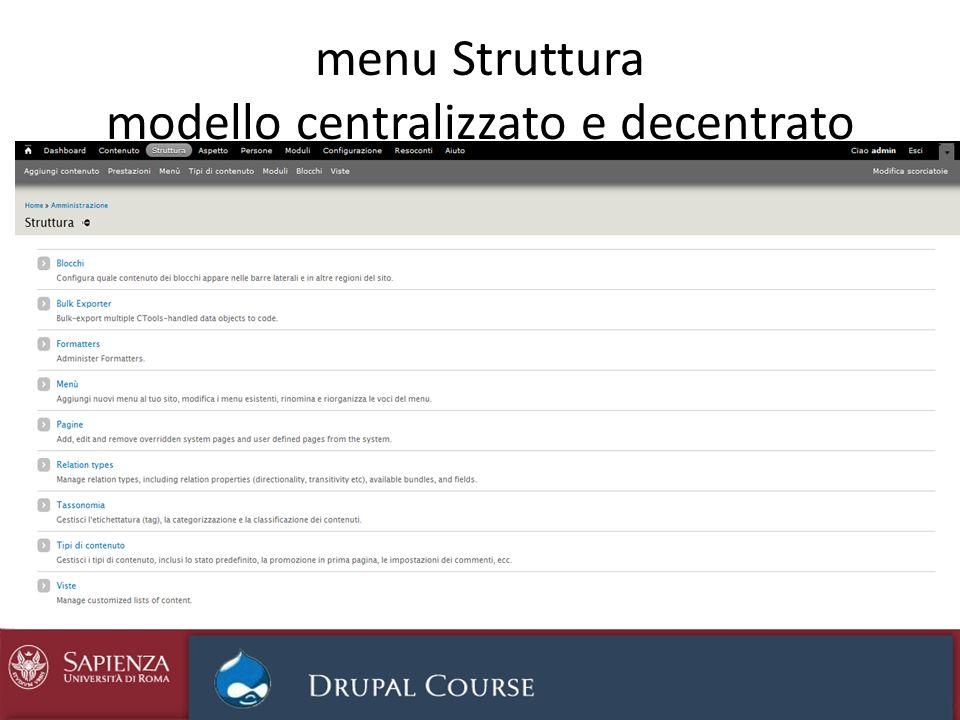 menu Struttura modello centralizzato e decentrato