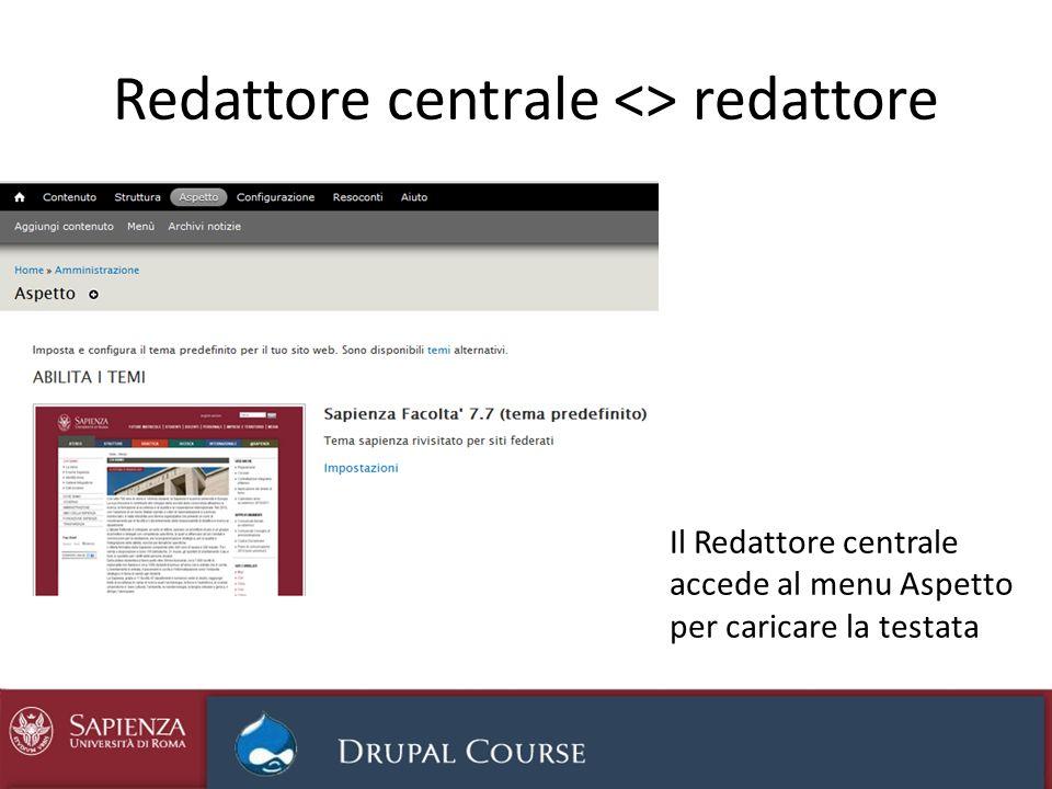 Redattore centrale <> redattore Il Redattore centrale accede al menu Aspetto per caricare la testata