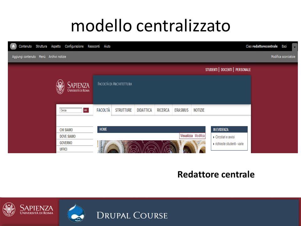 modello centralizzato Redattore centrale