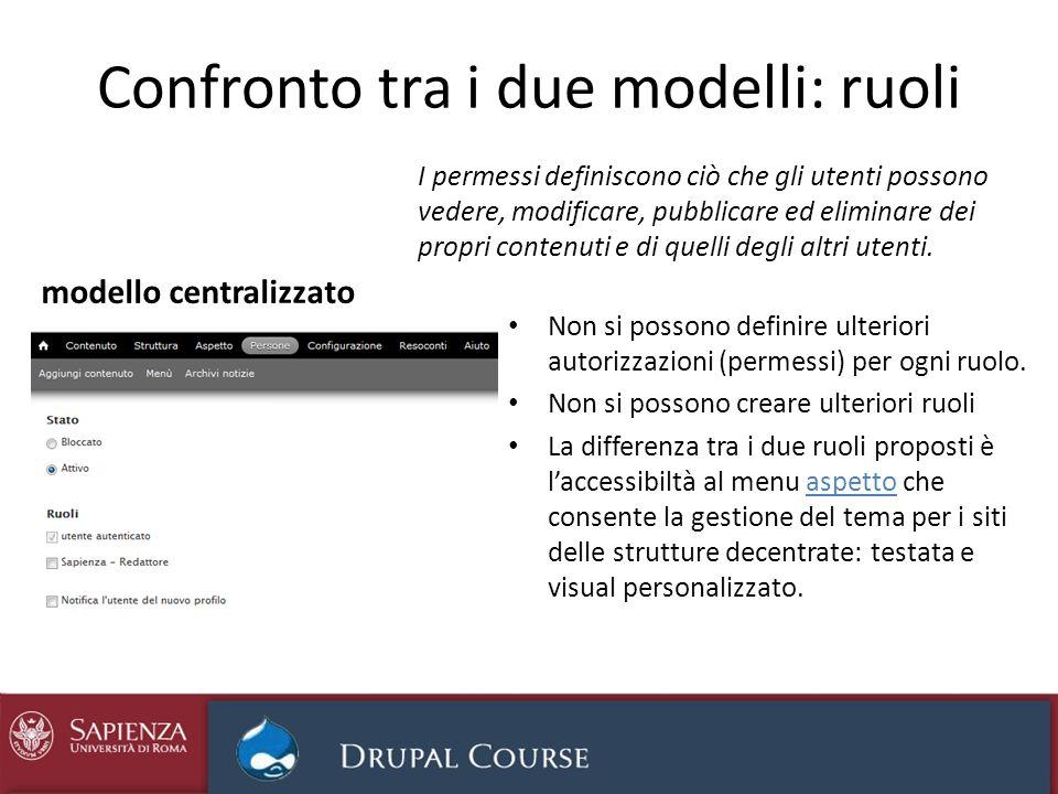 Confronto tra i due modelli: ruoli Non si possono definire ulteriori autorizzazioni (permessi) per ogni ruolo. Non si possono creare ulteriori ruoli L