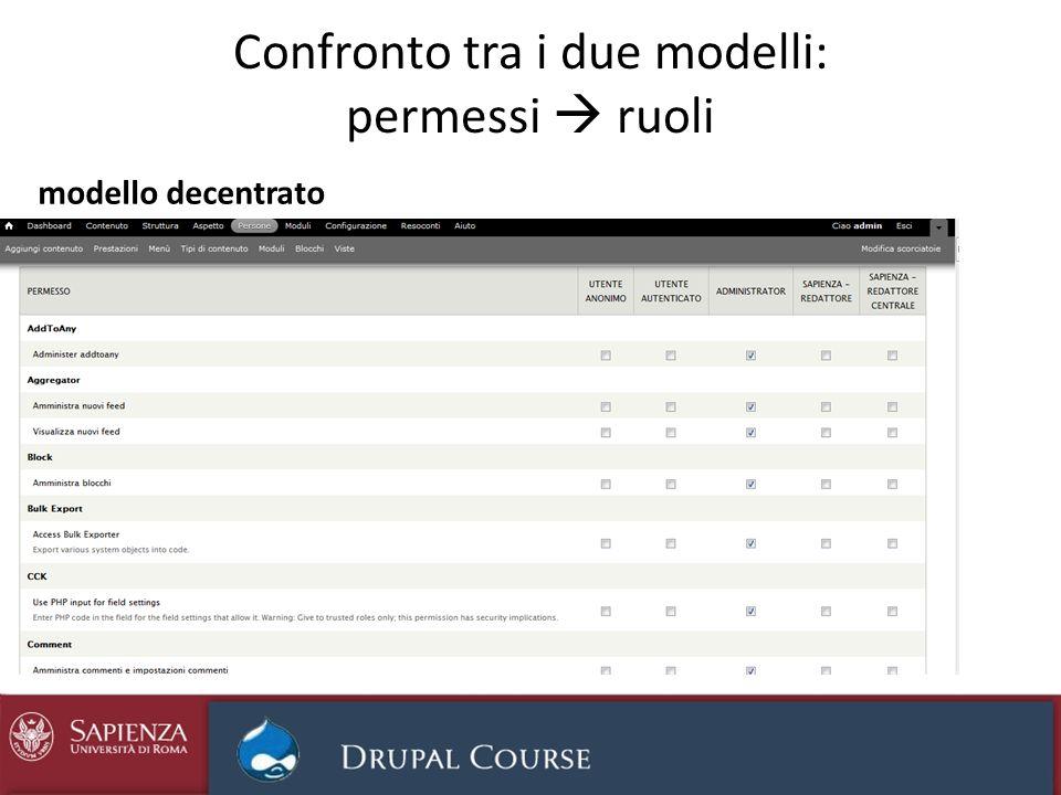 Confronto tra i due modelli: permessi ruoli modello decentrato