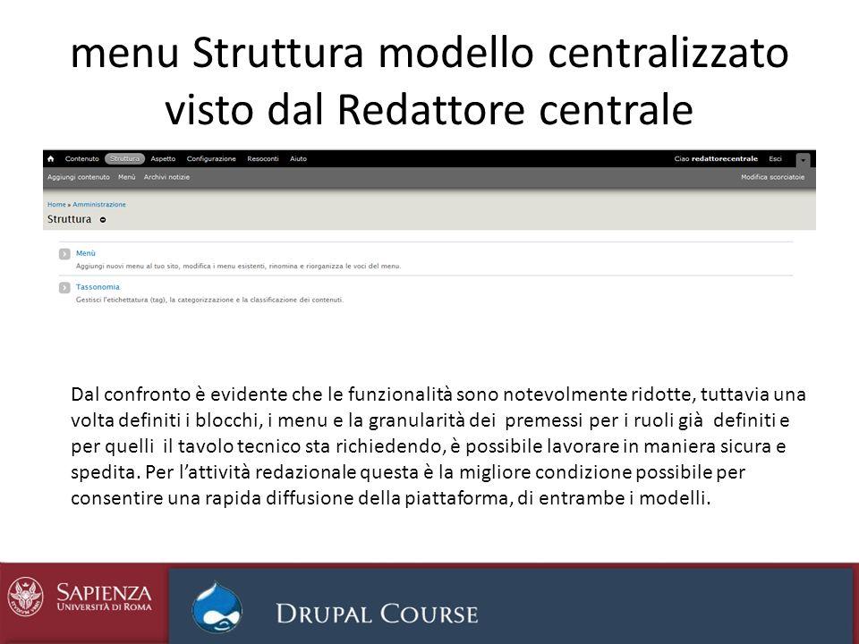 menu Struttura modello centralizzato visto dal Redattore centrale Dal confronto è evidente che le funzionalità sono notevolmente ridotte, tuttavia una