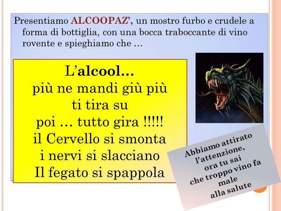 Presentiamo ALCOOPAZ, un mostro furbo e crudele a forma di bottiglia, con una bocca traboccante di vino rovente e spieghiamo che … L alcool… più ne ma