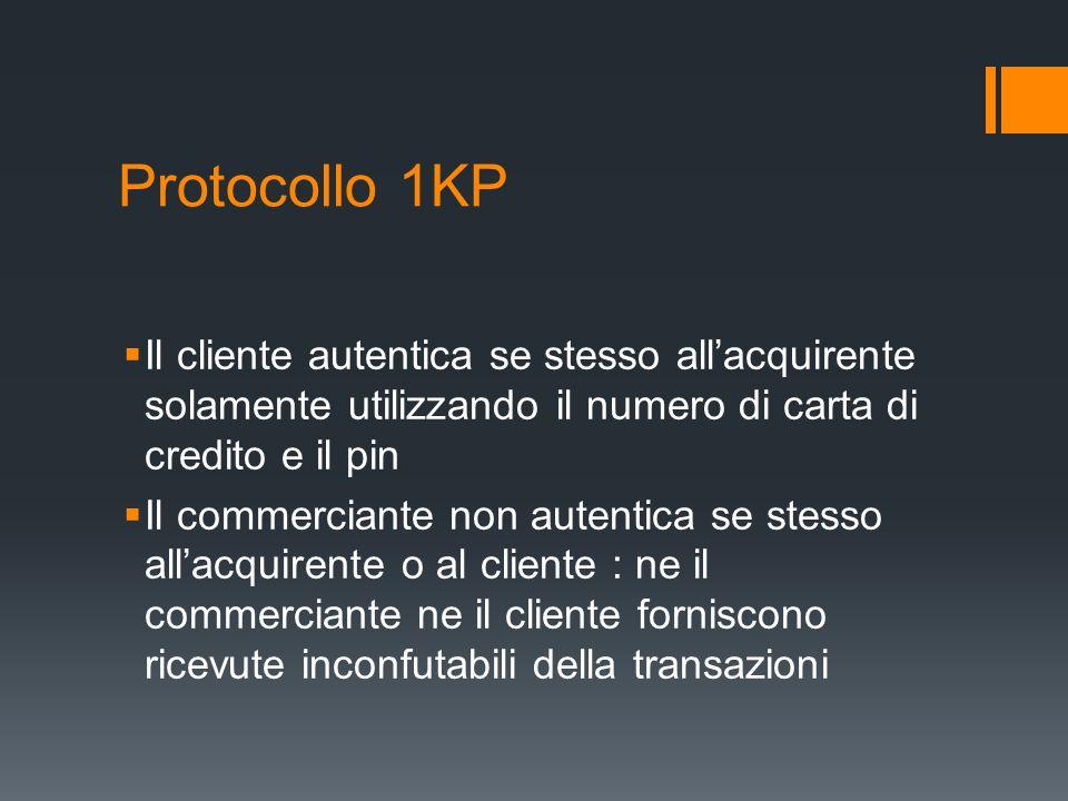 Protocollo 1KP Il cliente autentica se stesso allacquirente solamente utilizzando il numero di carta di credito e il pin Il commerciante non autentica